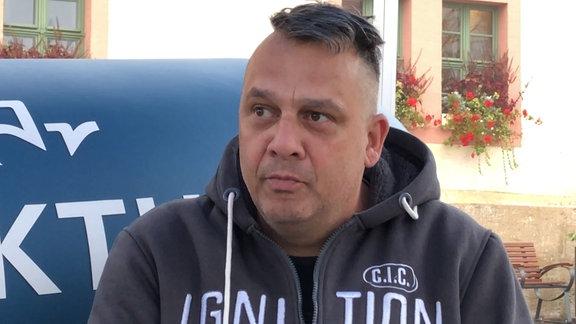 André Bürger auf dem MDR-AKTUELL-Sofa in Sömmerda