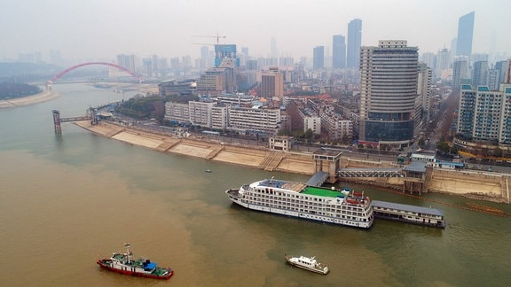 Luftaufnahme von Wuhan der Hauptstadt der chinesischen Provinz Hubei am Jangtsekiang