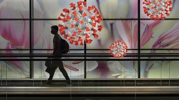 Silhouette eines Mannes mit Mundschutz vor Darstellungen von Corona-Viren