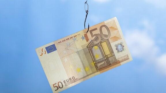 50-Euro-Schein an Angelhaken