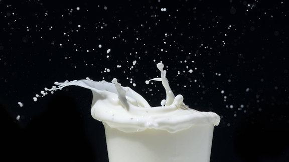 Spritzende Milch vor schwarzem Hintergrund