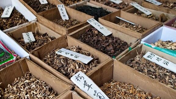 getrocknete Pilze auf einem chinesischen Markt