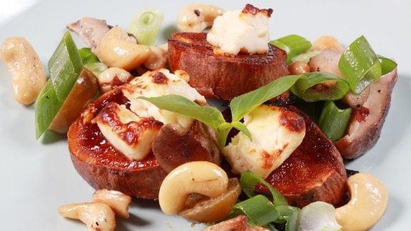 BBQ-Süßkartoffeln mit Shitakepilzen