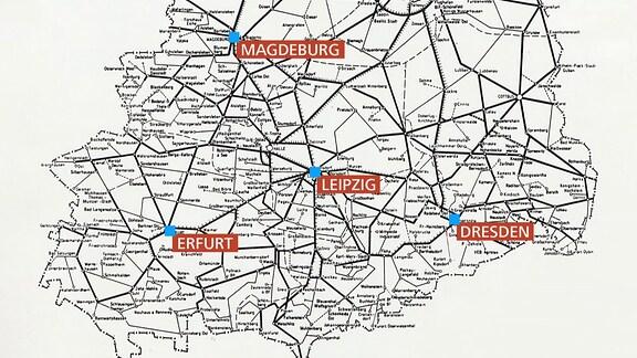 Eine Karte zeigt das mitteldeutsche Schienennetz zu DDR-Zeiten.