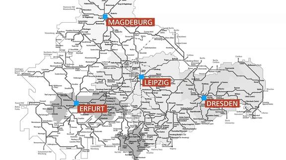 Eine Karte zeigt das mitteldeutsche Schienennetz heute.