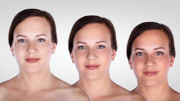Frau dreimal mit unterschiedlich hellen Hauttönen