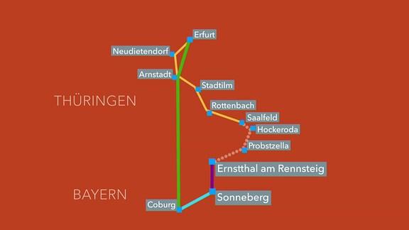 Grafik: die Streckenführung von Saalfeld nach Ernstthal/Rennsteig damals und heute.