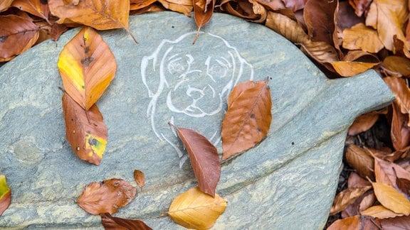 Grabplatte mit eingraviertem Hundekopf