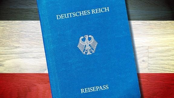 Reichsbürger Reisepass vor Reichsfahne Schwarz Weiß Rot