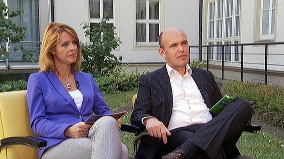 Stephan Schulz und Kerstin Palzer im Gespräch mit André Schröder (CDU)