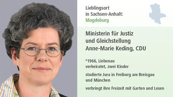 Lieblingsort in Sachsen-Anhalt: Magdeburg Ministerin für Justiz und Gleichstellung Anne-Marie Keding, CDU *1966, Liebenau verheiratet, zwei Kinder studierte Jura in Freiburg am Breisgau und München verbringt Freizeit mit  garten udn lesen