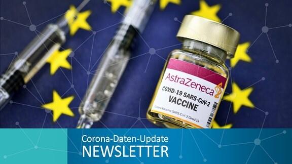 Injektionsflasche mit AstraZeneca-Schriftzug