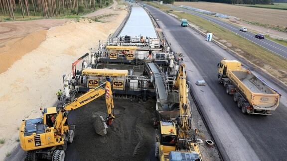 Bauarbeiten auf der A14