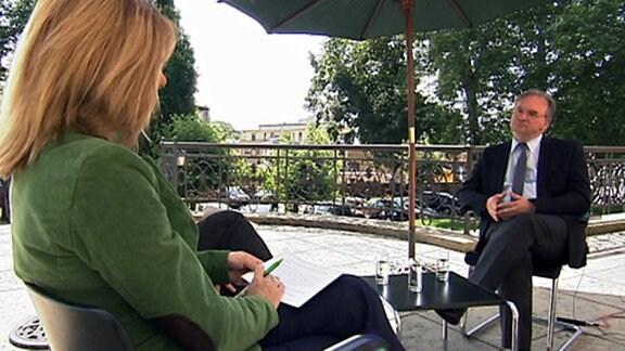 Stephan Schulz und Kerstin Palzer im Gespräch mit Ministerpräsident Reiner Haseloff
