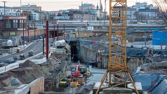 Bauarbeiten am Magdeburger Citytunnel
