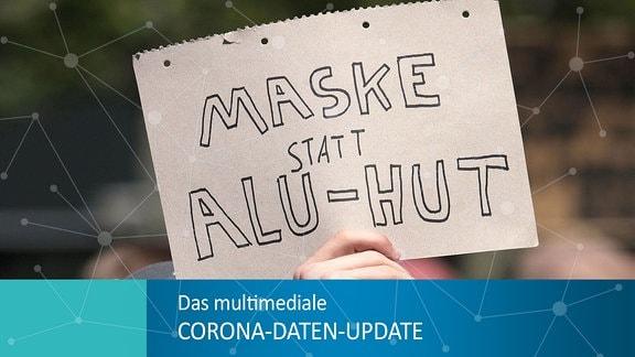 Gegendemo - Schild mit Aufschrift - Maske statt Alu-Hut.