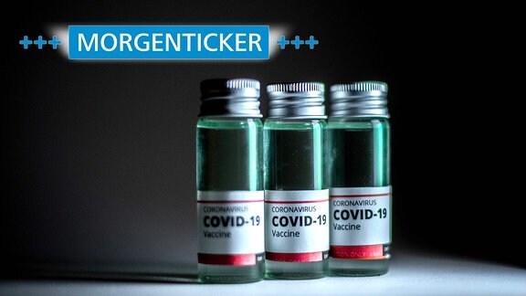 Illustration von drei Ampullen mit Impfstoff