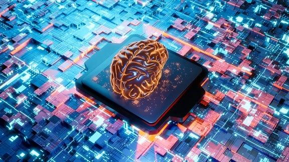 Menschlices Gehirn auf Leiterplatten