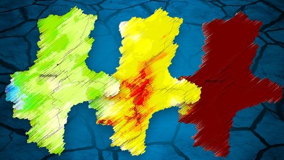 Themenbild Datenwoche: Ein ausgetrockneter Boden und Niederschlagskarten für Sachsen-Anhalt