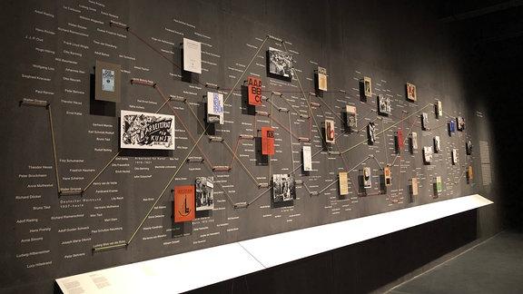 Blick in einen Ausstellungsraum im Bauhaus Museum in Dessau, an dessen Werk ein Netzwerk aus Fotos, Schrift und aufgespannten Seilen zu sehen ist