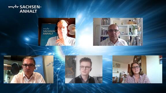 Screenshot eines Podcasts, bei dem fünf Menschen per Video zugeschaltet sind.