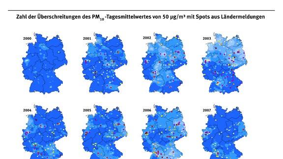 Zahl der Überschreitungen des PM-10-Tagesmittelwertes