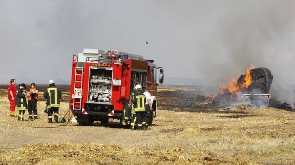 Feuerwehr bei einem Brand auf dem Feld.