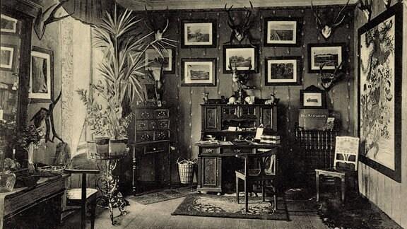 Archivaufnahme - Gernrode i. Harz, Töchterpensionat Daheim, das Empfangszimmer, ca. 1935