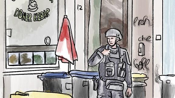 Polizei vor einem Döner Imbiss in Halle.