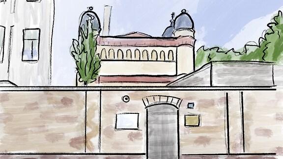 Grafik: Der Eingang zur Synagoge Halle