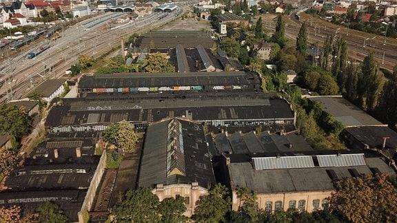 Gelände des ehemaligen RAW Reichsbahn Ausbesserungs Werk hinter dem Hauptbahnhof  in Halle