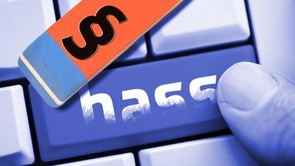 Computertaste mit der Aufschrift Hass und Radiergummi