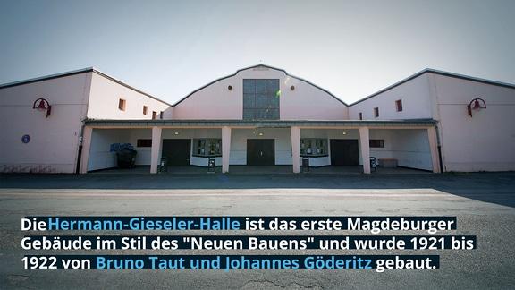"""Hermann-Gieseler-Halle ist das erste Magdeburger Gebäude im Stil des """"Neuen Bauens"""" und wurde 1921 bis 1922 von Bruno Taut und Johannes Göderitz gebaut."""