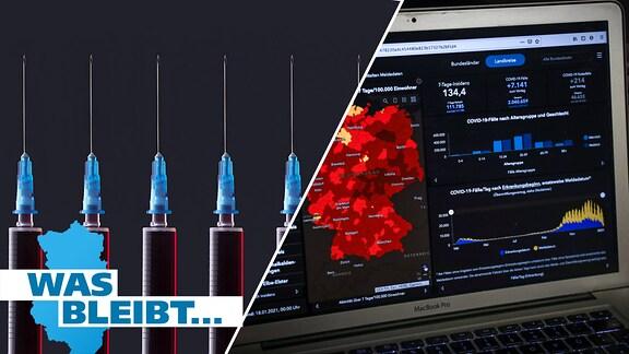 Impf-Spritzen, Grafiken auf einem Laptop