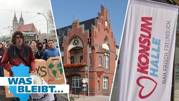 Schüler auf einer Klimademonstration in Magdeburg, das Genthiner Rathaus und eine Fahne mit dem Konsum-Logo