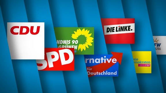 Auf blauem Hintergrund sind die Logos mehrerer Parteien in Sachsen-Anhalt zu sehen.