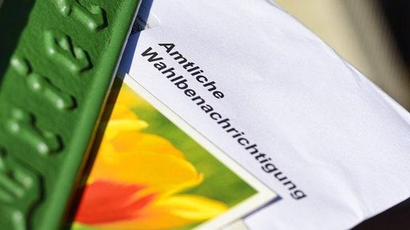 Amtliche Wahlbenachrichtigung für die Europawahl im Briefkasten