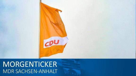 CDU-Fahne vor dem Konrad -Adenauer Haus