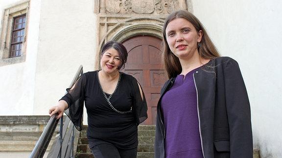 Frau Kaiyama und Frau Ankundinova von den Vereinen LAMSA/DaMigra zum Interview in Dessau