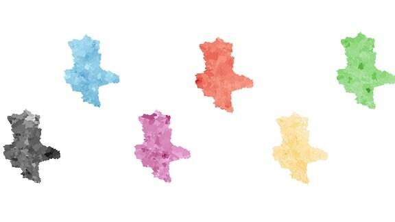 6 Sachsen-Anhalt-Karten, die jeweils farblich so eingefärbt sind, wie die Zweitstimmen-Anteile der Parteien CDU, AfD, Linke, SPD, FDP und Grünen bei der Landtagswahl 2021 sowie die Wahlbeteiligung auf Gemeinde-Ebene waren.