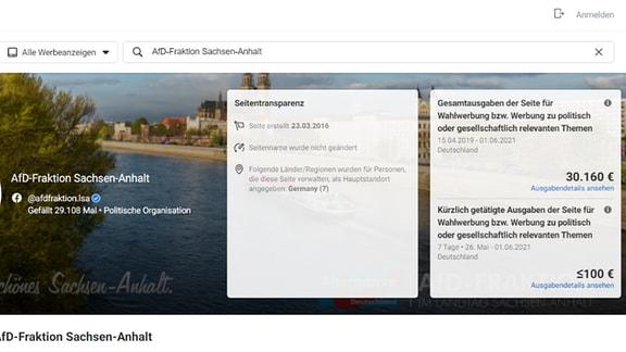Screenshot Statistik Wahlwerbung FB AfD Sachsen-Anhalt