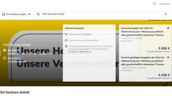 Screenshot Statistik Wahlwerbung FB CDU Sachsen-Anhalt