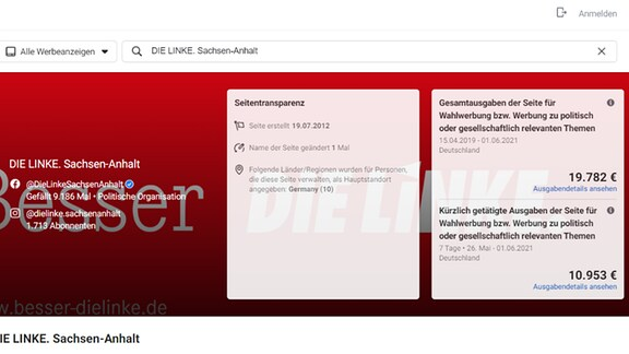 Screenshot Statistik Wahlwerbung FB Linke Sachsen-Anhalt