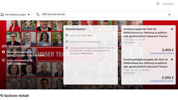 Screenshot Statistik Wahlwerbung FB SPD Sachsen-Anhalt