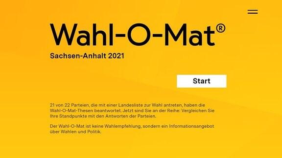 """Der Schriftzug """"Wahl-O-Mat Sachsen-Anhalt"""" in schwarz auf orange-farbenem Hintergrund."""