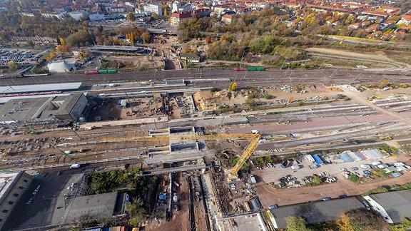 Tunnellbaustelle Magdeburg von oben
