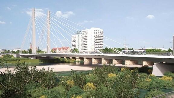 Entwurf einer Brücke in einer Stadt mit Hochhäusern