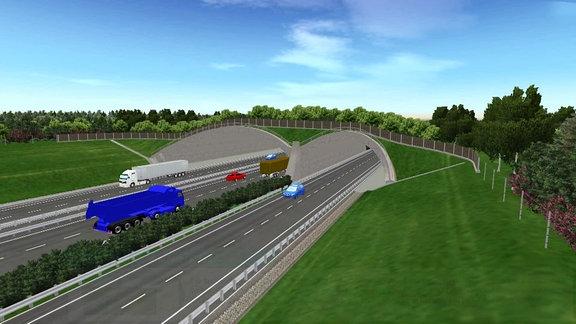 Computeranimation einer Grünbrücke, die über eine Autobahn führt