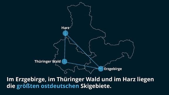Im Erzgebirge, im Thüringer Wald und im Harz liegen die größten ostdeutschen Skigebiete.