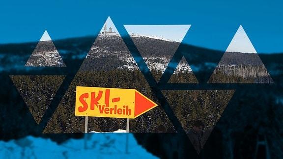 Schild eines Ski-Verleihs vor dem Brocken im Harz